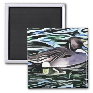 duck swimming painting 2 inch square magnet