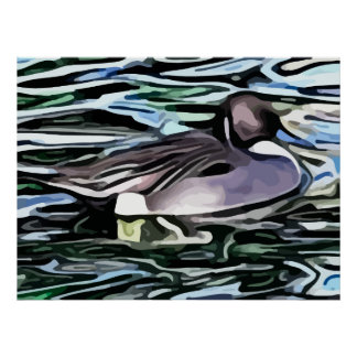 duck swimming painting posters