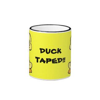 DUCK TAPED! yellow duck ringer ceramic mug