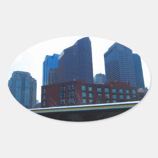 Duck tour window views of Boston City America Oval Sticker