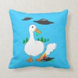 Duck vs. aliens pillow
