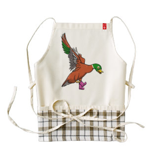 Duck Wearing Wellington Boots Zazzle HEART Apron