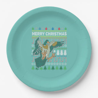 Duck Wildlife Merry Christmas Ugly Sweater Paper Plate