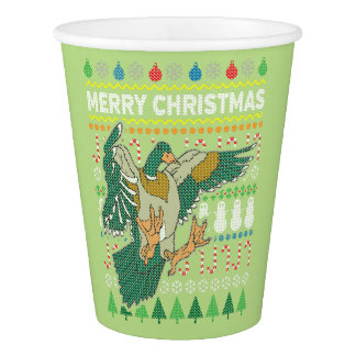 Duck Wildlife Merry Christmas Ugly Sweater Style Paper Cup