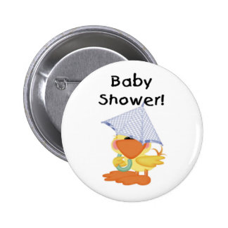 Duck with Blue Umbrella Baby Shower Button