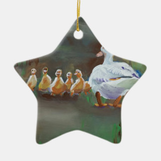 Duck with Ducklings Ceramic Ornament