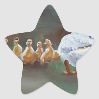 Duck with Ducklings Star Sticker