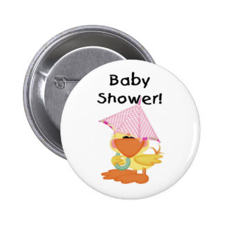 Duck with Pink Umbrella Baby Shower Pinback Button
