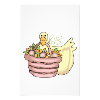 Duck With Sunflowers Stationery Design