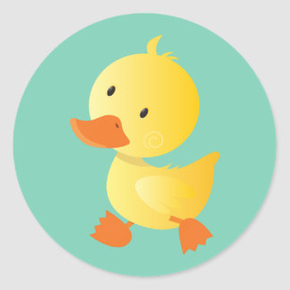 Duckie amarillo lindo pegatina redonda
