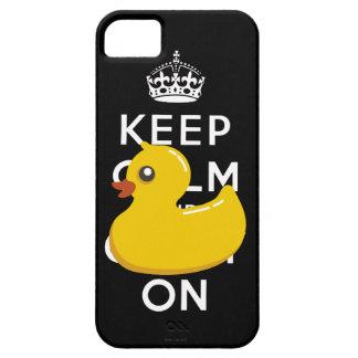 Duckie de goma guarda calma y continúa el caso del funda para iPhone SE/5/5s