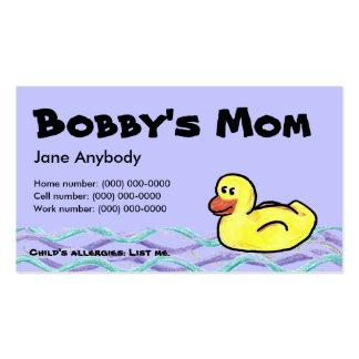 Duckin a lo largo de la tarjeta de la mamá tarjetas de negocios