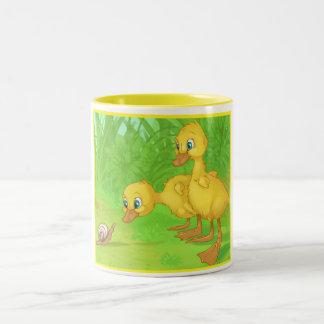 Duckings and the Snail Two-Tone Coffee Mug