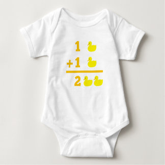 Duckling addition 1 plus 1 with numbers baby bodysuit