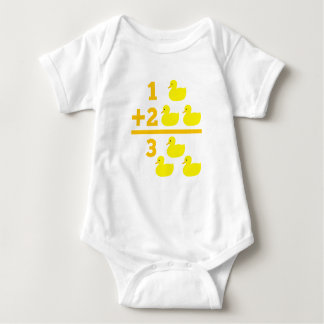 Duckling addition 1 plus 2 with numbers baby bodysuit