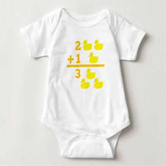 Duckling addition 2 plus 1 with numbers baby bodysuit