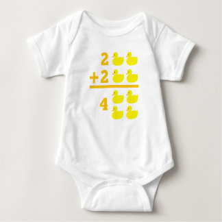Duckling addition 2 plus 2 with numbers baby bodysuit