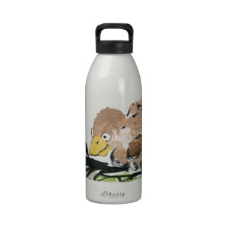Duckling and Butterfly  - Sumi-e Drinking Bottle