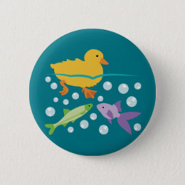 Duckling and Fishes Pinback Button