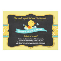 Duckling Baby Shower Bring a book card Duck Yellow