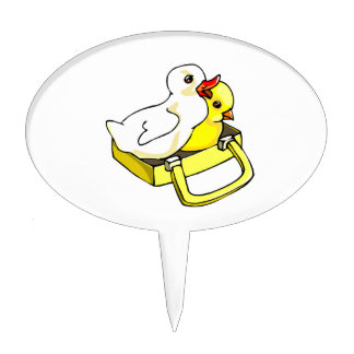 duckling chick in suitcase cake topper