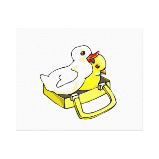 duckling chick in suitcase canvas print
