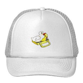 duckling chick in suitcase trucker hat