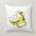 duckling chick in suitcase throw pillow
