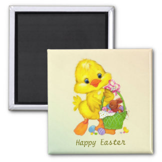 Duckling, eggs and bunny Easter Magnet