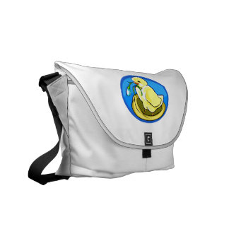 duckling next flower blue oval courier bag