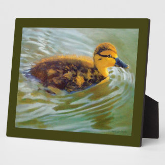 Duckling Swimming: Oil Painting: Realism, Wildlife Plaque