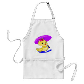 Duckling with a purple umbrella adult apron