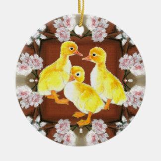 Ducklings and Roses Ceramic Ornament