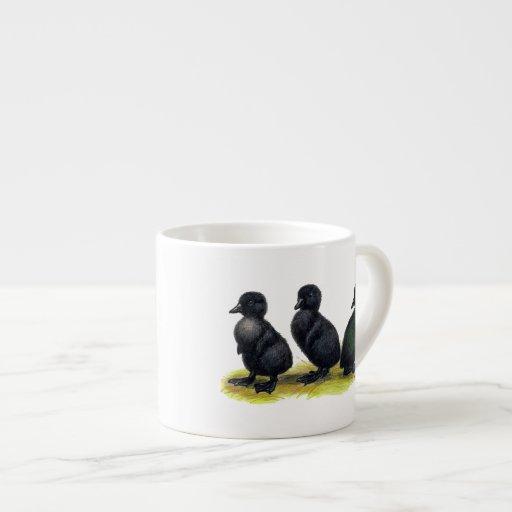 Ducklings Black Cayuga 6 Oz Ceramic Espresso Cup