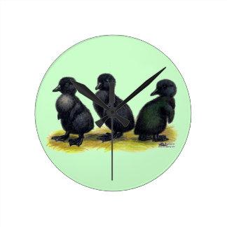 Ducklings Black Cayuga Round Clock