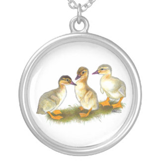 Ducklings:  Buff Orpingtons Silver Plated Necklace