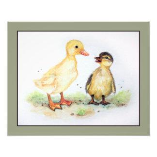 Ducklings in Watercolor. Farm Animal Nursery Art Photo Print