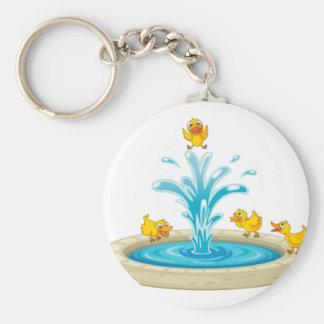 Ducks and fountain keychain