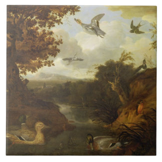 Ducks and other birds about a stream in an Italian Ceramic Tile
