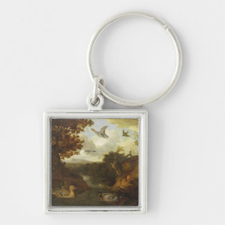 Ducks and other birds about a stream in an Italian Key Chain
