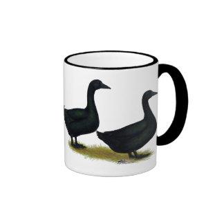 Ducks:  Black Cayugas Ringer Mug