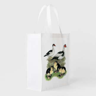 Ducks Black Pied Muscovy Family Reusable Grocery Bags