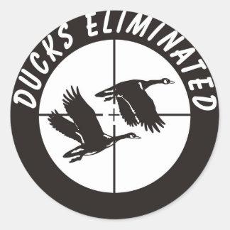 ducks_eliminated classic round sticker