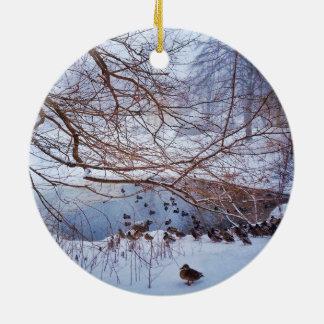 Ducks Gather Around A Frozen Pond Ceramic Ornament