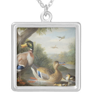Ducks in a River Landscape Silver Plated Necklace