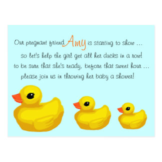 """""""Ducks in a Row"""" Personalized Shower Invitation Postcard"""