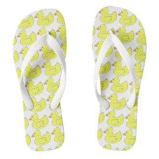 Ducks in a Row Yellow Rubber Duck Ducky Flip Flops