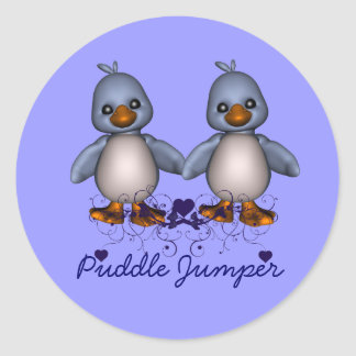 Ducks in Blue for the Puddle Jumper Classic Round Sticker