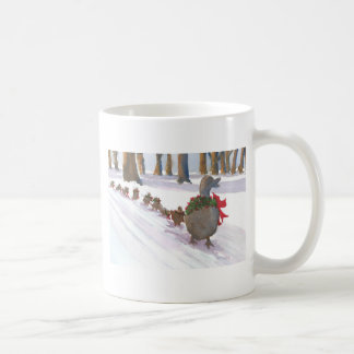 ducks in boston common during the winter holidays coffee mug