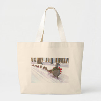 ducks in boston common during the winter holidays large tote bag